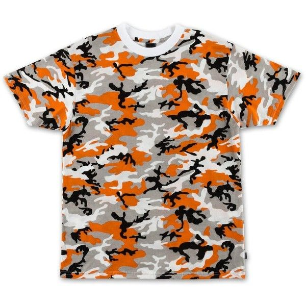 Camo Tee Orange ($25) ❤ liked on Polyvore featuring tops, t-shirts, orange camo t shirt, camo print t shirt, camouflage top, orange tee and cotton t shirts