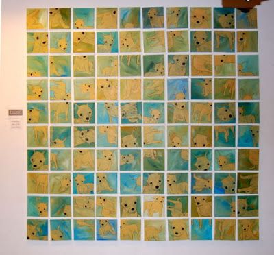 100 small paintings, 20 x 20 cm