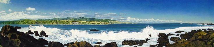 """Commission. """"Dan's Surprise"""", Oil on Canvas, 286cm x 65cm. Breaker Bay, Wellington."""