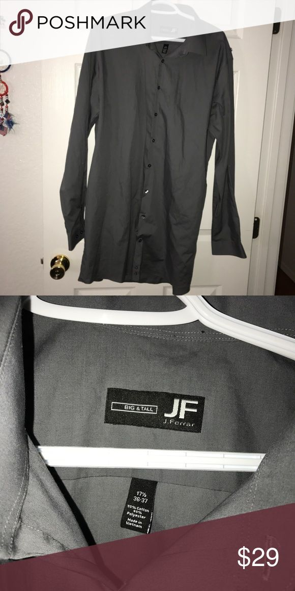 Men's grey button up big &tall J ferrar 36/37 17.5 Good condition j ferrar Shirts Dress Shirts