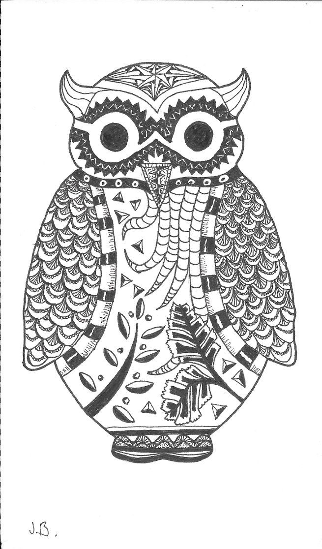 The owl is a stencil.. but I did the zentangeling myself