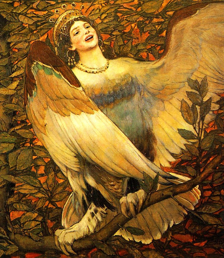 VASNETSOV, Viktor Mikhaylovich (1848-1926) Sirin and Alkonost – Birds of Joy and Sorrow, details 1896 Ed. Orig.