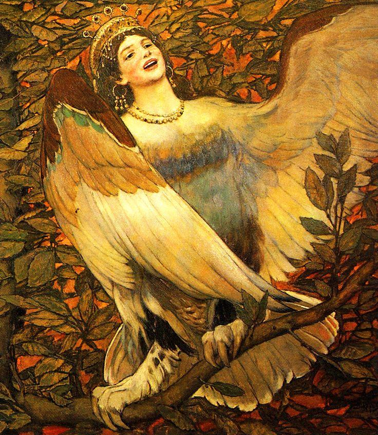 VASNETSOV, Viktor Mikhaylovich (1848-1926) Sirin and Alkonost – Birds of Joy and Sorrow, details 1896 Ed. Orig.