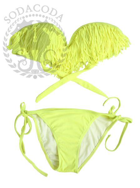 SODACODA Fringe Bandeau Bikini With Cut Out Bottoms - 2pcs Set - Neon Yellow (S,M,L) BUY NOW http://amzn.to/12EgLhJ