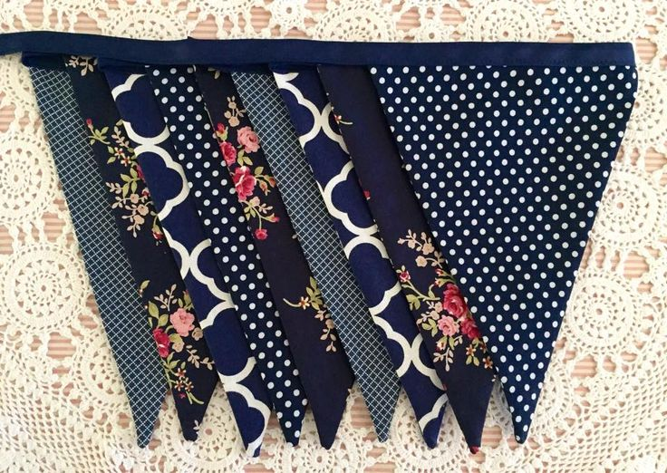 Navy floral bunting www.facebook.com/kaleidoscopeofdesigns