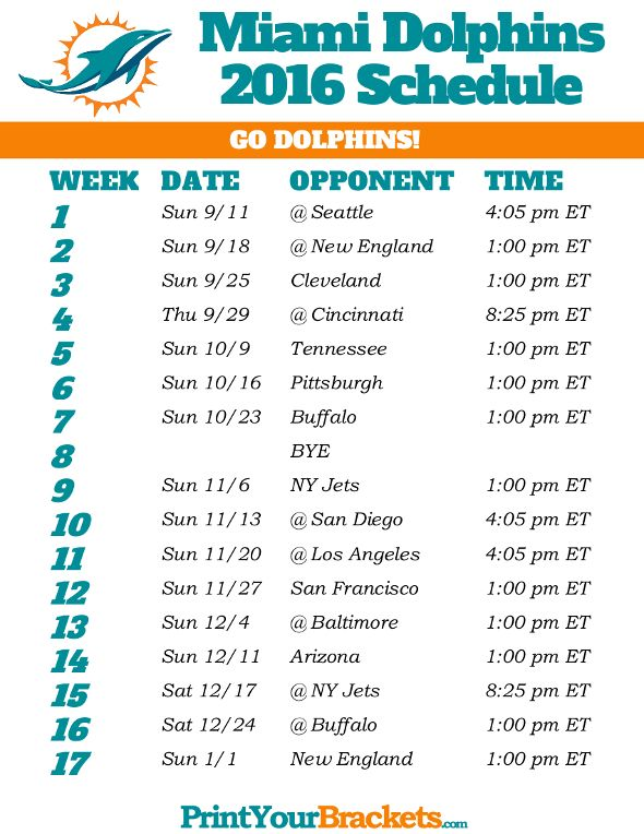 Miami Dolphins Schedule - 2016                                                                                                                                                                                 More