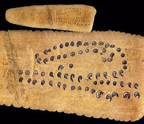 This is an ancient lunar calendar made by the Aurignacian people (47,000-41,000 years ago). The Aurignacian culture is an archaeological culture of the Upper Palaeolithic, located in Europe and southwest Asia, lasted within the period from ca. 45,000 to 35,000 years ago. The name originates from the type site of Aurignac in the Haute-Garonne area of France.