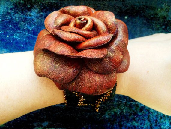 Leather rose bracelet -  Black leather cuff bracelet with bead embroidered edges and antique looking leather rose on top