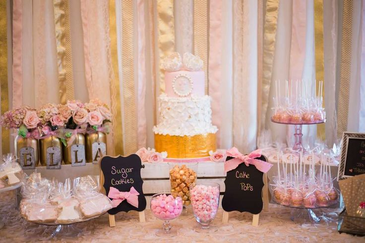 Pink & Gold Christening Baptism Party Ideas | Photo 1 of 80