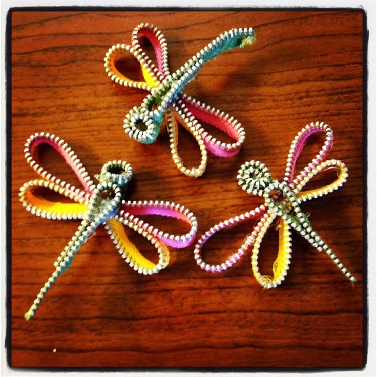 zipper trim dragonflies