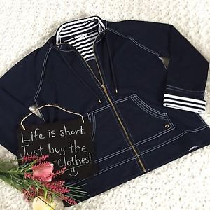Anne Klein Sport Women's Zip Up Jacket Size L Navy White Nautical  Striped  | eBay