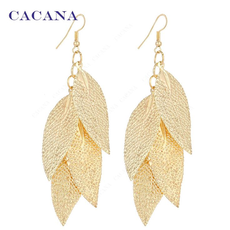 CACANA Gold Plated Dangle Long Earrings For Women Matte With Pits Top Quality Bijouterie Hot Sale No.A499 A500