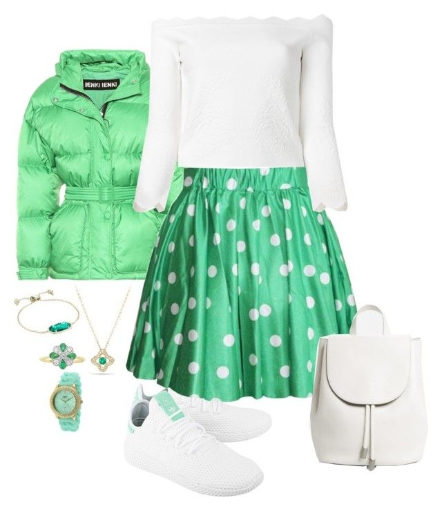 """Green skater skirt"" by snowflakeunique ❤ liked on Polyvore featuring Ienki Ienki, adidas, Retrò, Alexander McQueen, Everlane, David Yurman, Kendra Scott and TKO Orlogi"