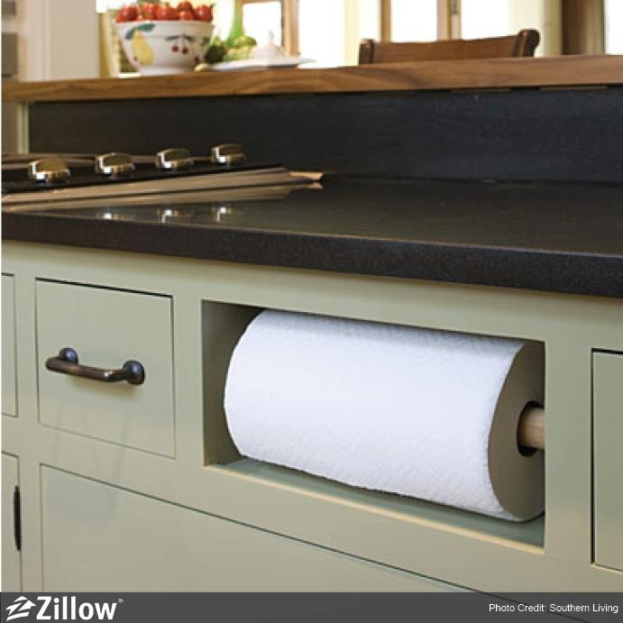 Remove a kitchen drawer and install a paper towel holder in its place. Organizational genius! pinned with Pinvolve