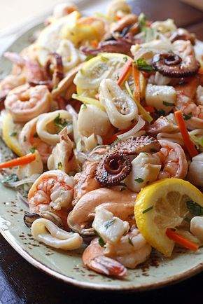 """MARINATED SEAFOOD SALAD ~~~ this recipe is shared with us from the restaurant, """"fresco by scotto"""" in new york city. [Italy] [foodnetwork]"""