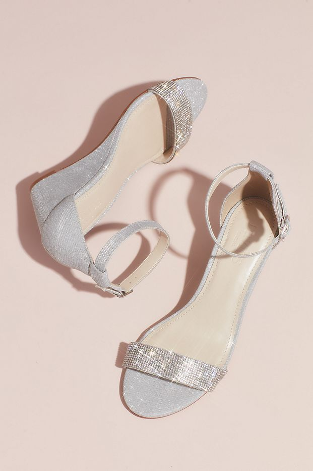 f4d545e264 Crystal-Topped Wedge Sandals with Ankle Strap | David's Bridal ...