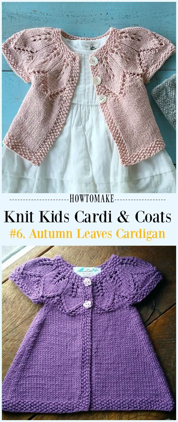 Autumn Leaves Cardigan Free Knitting Pattern - #Knit Kids #Cardigan Sweater Free Patterns