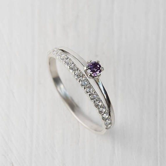 Amethyst ring Purple stone ring Dainty ring Fine ring