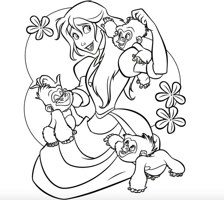 Jane and baby gorillas coloring page Coloring pictures