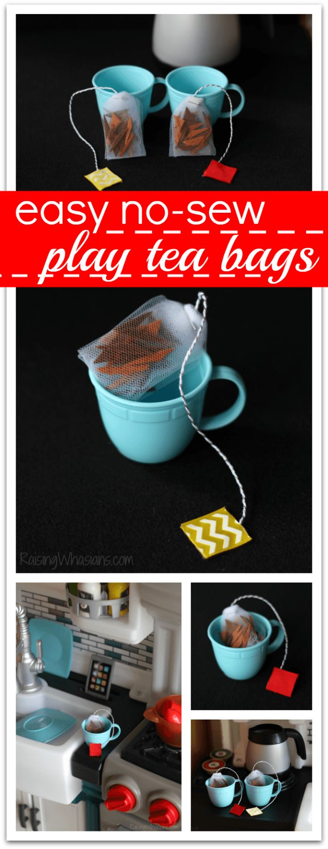 No Sew Play Tea Bags Tutorial + Pretend Kitchen Fun | DIY felt tea bags craft for kids (ad)