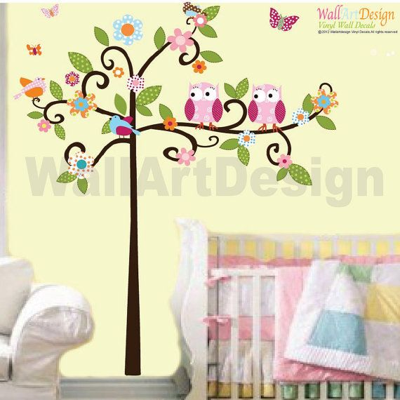 Swirly Tree with Two Owls and Birds Decal Set- Boy Girl Kid Baby Room Vinyl Wall Sticker