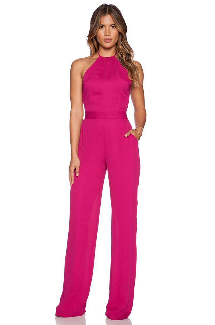 Looking for a pop of colour? Stunning hot pink jumpsuit by Karina Grimaldi.