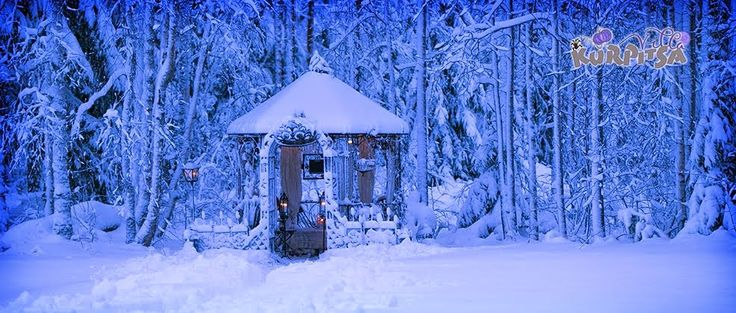 my garden house at winter & snow - puutarhamajani talvella & lumisena
