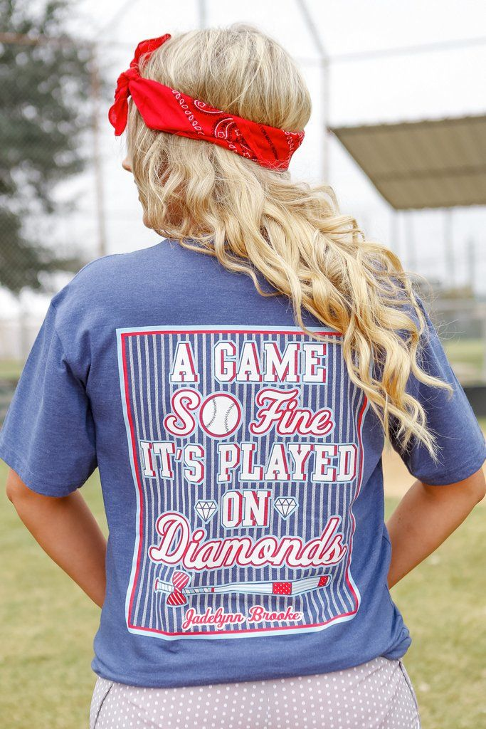 Jadelynn Brooke short sleeve t-shirt. Baseball: a game so fine it's played on diamonds. V-neck. Color:  Heather Navy S(0-4) M(6-8) L(10-12) XL(14) 50% Pre-shrunk cotton, 50% Polyester.