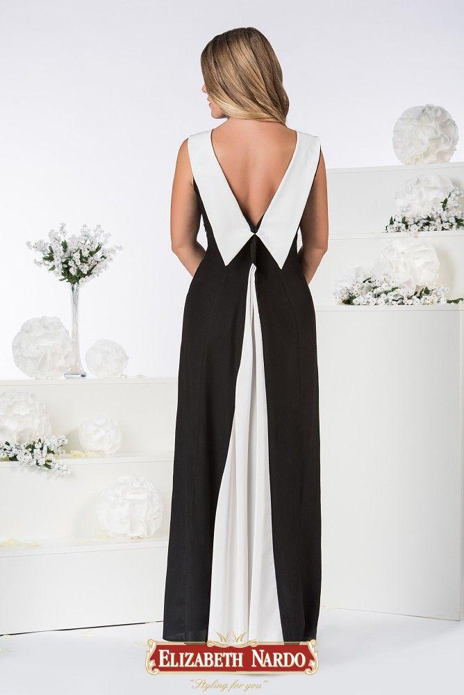 19-337 Fekete- fehér szatén hosszú ruha  4415ebd5af