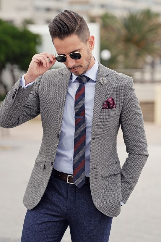 Mens Style, Menswear, Mens Fashion, Street Style, Fancy, Mixed Patterns, Textures, Blue Pants, Grey Blazer, Brown Shoes, Mens Accessories