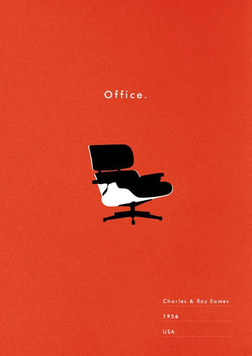 Mid Century poster eames chair art print by WeaversofSouthsea