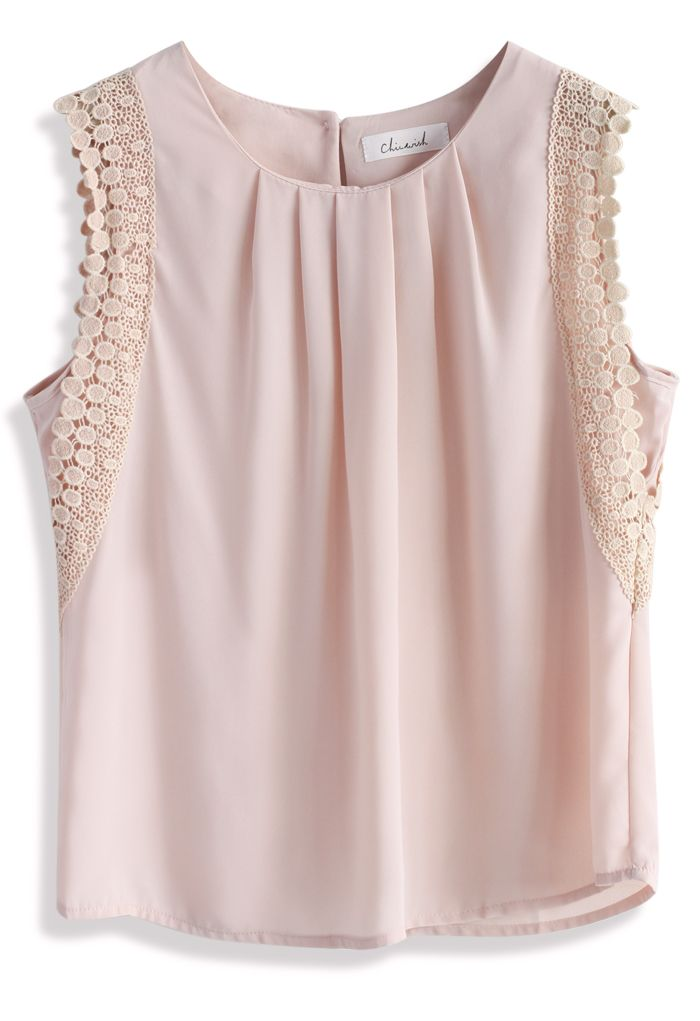 Pleats and Posies Chiffon Top in Nude - Tops - Retro, Indie and Unique Fashion