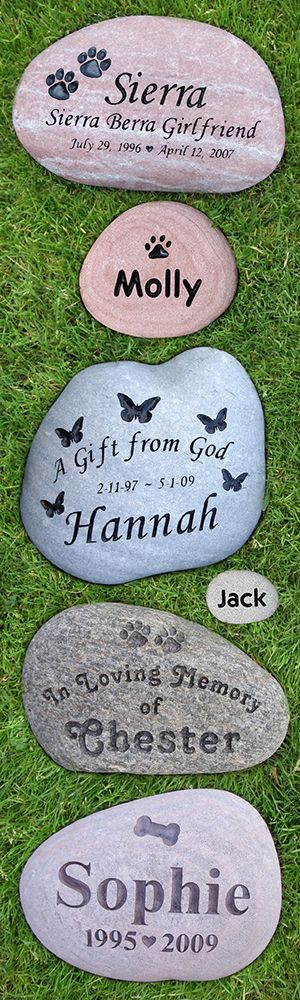 Custom Engraved Pet Memorial Stones. Honor your beloved pet with a river stone memorial. Engraved in natural river stone. Perfect for dogs or cats.