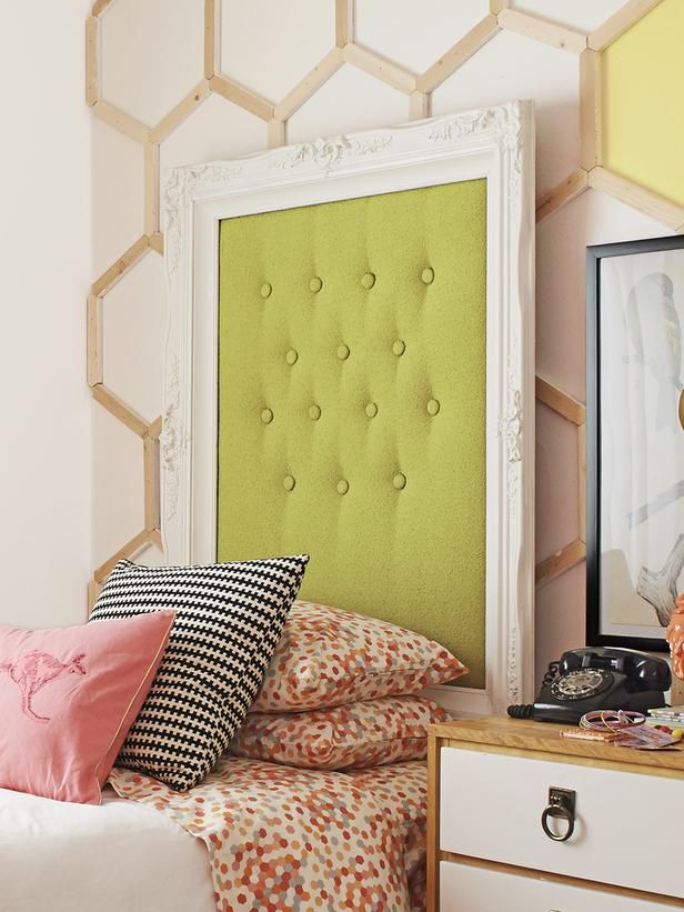 A gorgeous picture frame repurposed as a twin headboard...perfect!