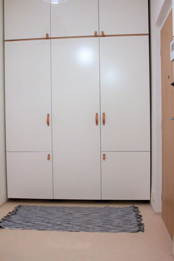 Ikea kitchen cupboards as closet | veddinge doors | osternas handles | leather handles | DIY closet | DIY wardrobe | ourguidetotheeveryday.com