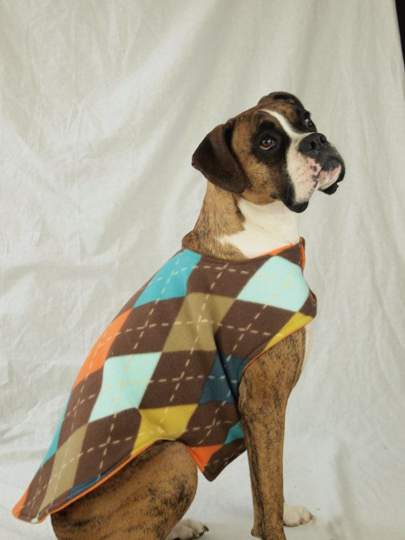 Argyle and Orange Large Dog Coat available in by LittleShopofHaute, $25.00 - For GUS!