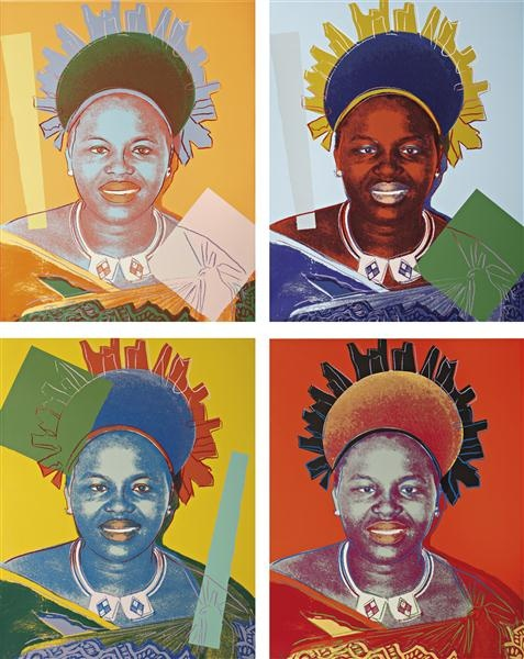 Reigning Queens: Queen Ntombi Twala of Swaziland set (1985) by Andy Warhol