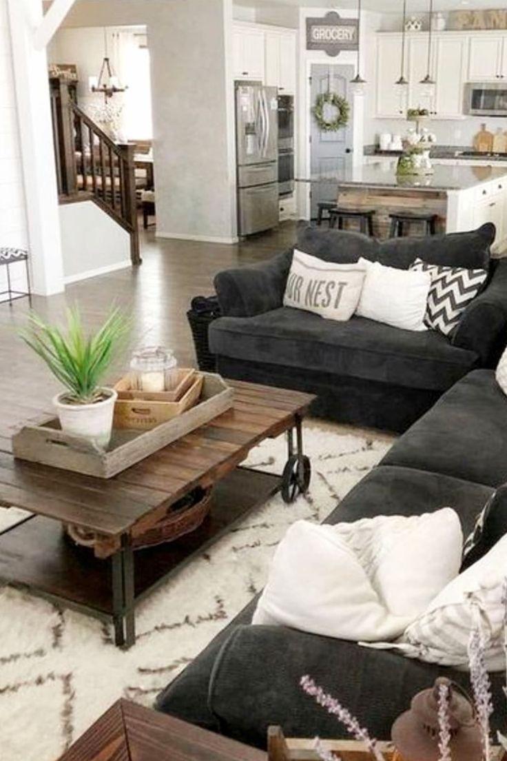 Creative Ways Awesome Farmhouse Living Room Makeover Decor Ideas 13 Cozy Grey Living Room Living Room Grey Farmhouse Living Room Furniture