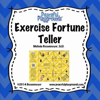 A fortune teller  is an origami used for children's games.  Children love the hand games and choices inherent in the Fortune Teller Game.  Use the Move Your Body Fortune Teller Game to determine the choice of exercise and the number of repetitions children will perform.