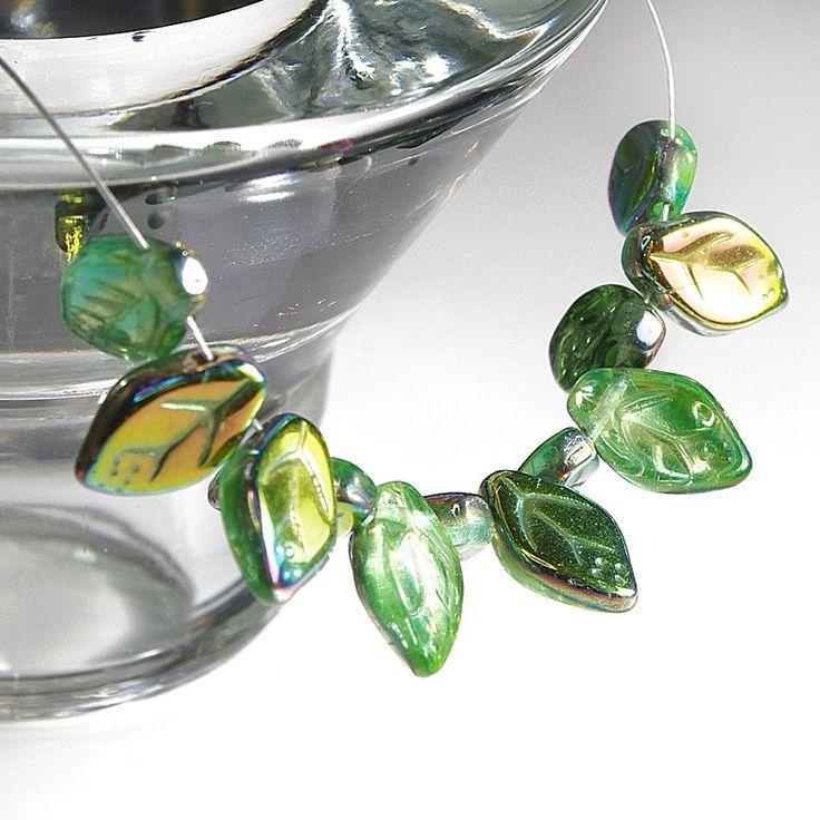 Jewery supplies -Leaves Glass Czech Beads - Green Blue with Vitrail Coating 7х12 mm -White Giraffe