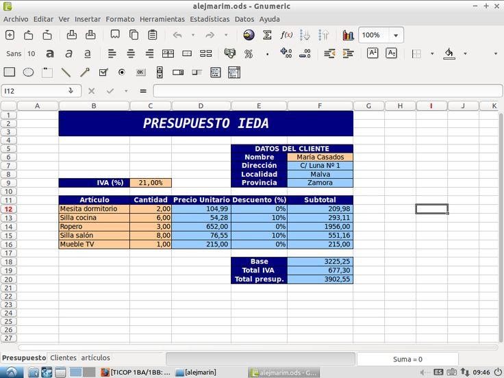 En un libro de calculo nueva, he puesto tres hojas de calculo a las cuales las he llamado  Presupuesto, Artículos y Clientes. En la hoja presupuesto he realizado los cálculos ,a partir de las formulas que hay en las celdas celestes, de forma automática con los datos que he introducido.  Las celdas con fondo de color azul oscuro son los títulos y descripciones de los datos.