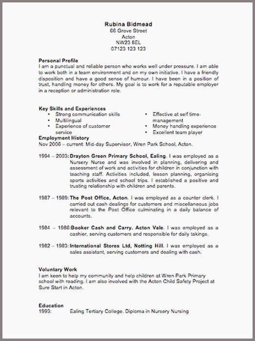 Uk Resume Format Pinterest Resume, Sample resume and Resume