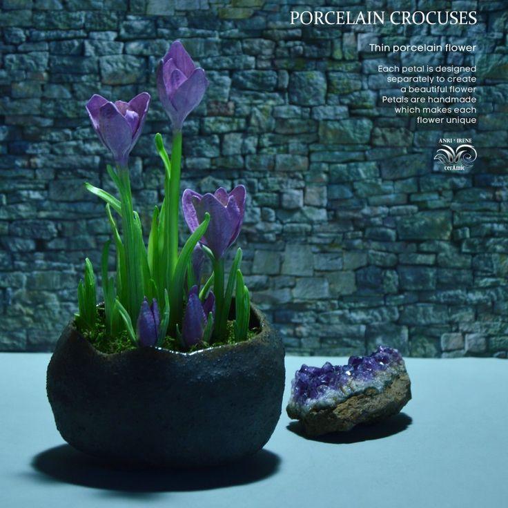 Porcelain crocuses. Ceramic flowers. Completely handmade. Floral ceramics.