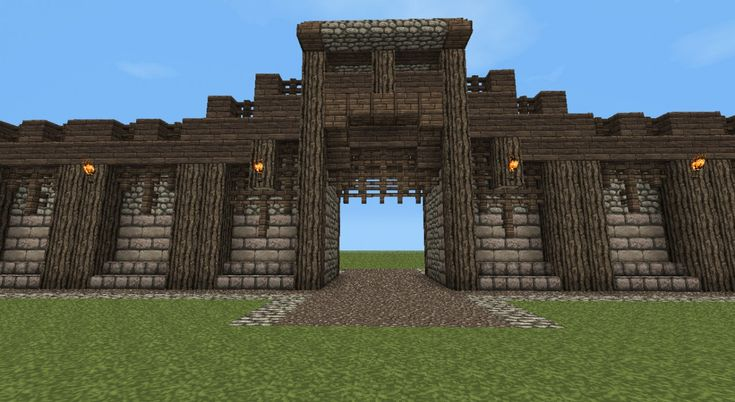 Detailed Medieval Wall + Entrance! Now with Added guard tower! Minecraft Project