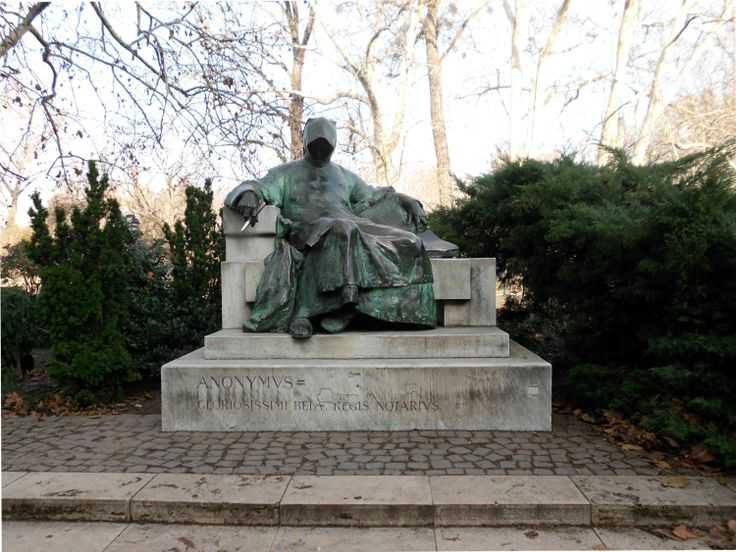 Gallus Anonymus. A statue of an anonymous writer in the park of Vajdahunyad Castle.