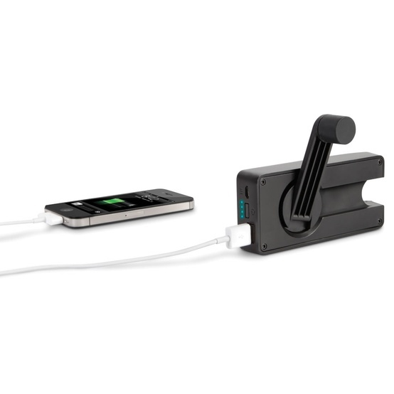The Hand Crank Emergency Cell Phone Charger - Hammacher Schlemmer - This is the charger that converts one minute of hand cranking into 30-second bursts of emergency power for a connected cell phone.
