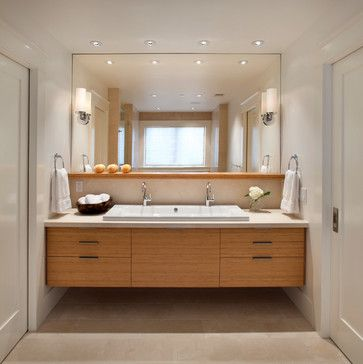 full mirror with shelf in front Modern classic - contemporary - Bathroom - San Francisco - Sullivan Design Studio