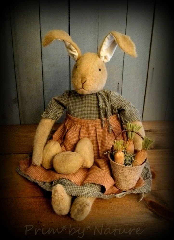 Primitive Rabbit Doll with Basket of Carrots and Brown Easter Eggs #NaivePrimitive #PrimbyNature