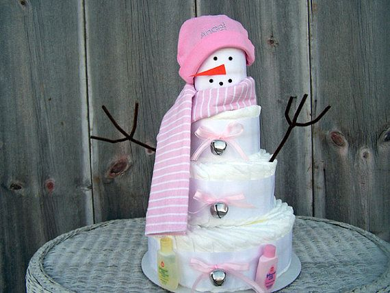 Snowman Themed Diaper Cake For Girls, Winter Themed Baby Shower