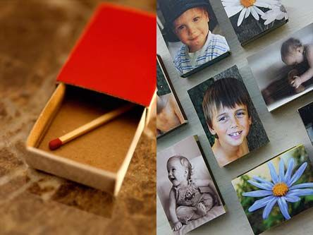 Matchbox Picture Magnets Modge Podge a picture on a matchbox and add a magnet to the back.  Perfect for Fathers Day